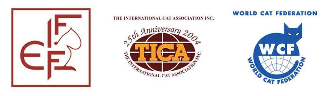 Loga federacji stowarzyszonych w World Cat Congress, od lewej FIFe, TICA i CFA